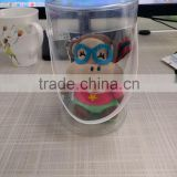 Clear round bottom plastic bag with lid and handle for children toy/ toy packaging plastic bag with round bottom