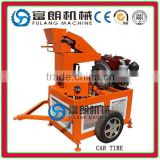 FL1-20 electric motor interlocking brick making machine design with car tire and tractor