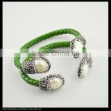 LFD-B0024 Wholesale Charms Natural Pearl Pave Rhinestone Crystal Green Color Leather Cuff Bangles Bracelet Jewelry Finding