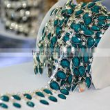 Lower Price China Indicolite Stone Cupchains, Rhinestone Chain Trim with Cup setting , Cupchains with Glass Stone for Dress