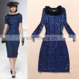 Sexy ladies lace bright blue long sleeve slim evening dress with fur collar fashion designer wholesale C17132
