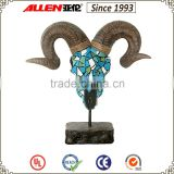 "14"" poly resin carved goat animal head with stand in mosaic finish for wall decoration"