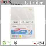 Customized PP Presentation sheet clear L shape plastic file folder for Office filing document