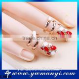 2016 Hot Sell Nail Jewelry Crystal Red Gemstone Nail Ring Jewelry Zircon Nail Rings Set For Women L0018