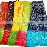 Ethnic Tie Dye Bandhani Print With Sequin Embroidered Bohemian Womens Designer Circular Long Tie Skirt wholesale stcok lots