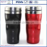 Hot selling 16oz double wall clear outer plastic inner stainless steel travel tumbler coffee car mug