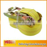"Hard material aluminium handle 2inch ratchet style tie down/2"" Tie Down Webbing polyester yellow webbing J hook"