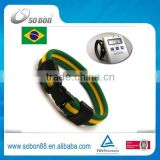 Brazil flag magnetic silicone titamium bracelets custom wristband promotion gift new products 2016