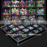 Display w/ assorted steel bananas , barbells , labrets with acrylic balls & cones (360 pcs)