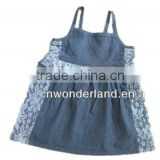 2015 baby halter dress with lace smock baby denim dresses