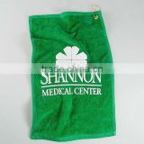 green printed cotton velour golf towel