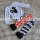 girl holiday wear long sleeve black cat shirt match polka ruffle pant children halloween clothing