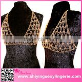 open hot sexy girl video Gold Halter Bra Cover Sexy Body Chain