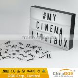 A4 cinematic style lightbox cinema signage light box with changeable letters and symbols