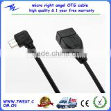 2014 New Product Micro USB OTG Cable 90 Degree Right Angle Micro USB Cable for Android Smart phone