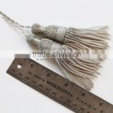 Antique french silver metallic tassels for your pillows and bags fashion with looped cord
