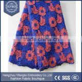 Indian embroiderey lace with rhinestones washable polished polyester lace fabric flower patterns wedding guipure lace fabric