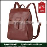 Fashion and retro granulated cow skin leather lady backpack,lady shoulder bag handcraft manufacturing