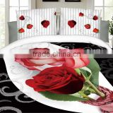 Lovelyou Red Rose Black white Skin 100% Cotton Queen Size 3d Print Bedding Set (1 Duvet Cover + 1 Bed Sheet + 2 * Pillow Case)