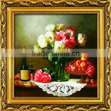 Handmade painting resin framed art for wall decoration classical flower painting