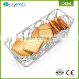 Factory wholesale stainless steel 304 rectangular shape metal wire home kitchen bread basket