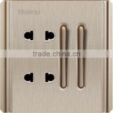 Naling brushed champagne 2 gang 1 way thin button electrical switch with double 2 pin wall socket