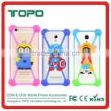 3D Carton mulit colors cheap universal cell phone border bumper protector silicone rubber mobile frame currency for iPhone case