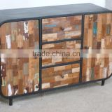 Industrial Iron Wood Side Board