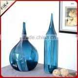 High quality flow pattern teardrop shape deep blue small cuspidal mouth art glass flower vase