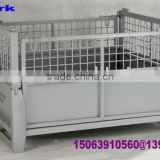 Foldable and stackable mesh box pallet/steel container