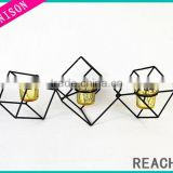 China wholesale candle holder set of 3 wrought iron candle holder wire tea light candle holder for Wedding&Home decoration