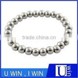 Cheap stainless steel silver 8 mm bead bracelet