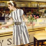 Women fashion short sleeve white and black stripes printing button down loose legging casual romper jumpsuit