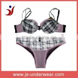 high quality fashion style satin printed mesh bra and panty set
