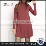 MGOO Custom Made Bulk Price Knit Turtleneck Shift Dress Plain Fashion Lycra Dress Rayon Spandex 220g Vestidos