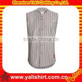 Wholesale hot sale breathable sleeveless quick dry button front mesh striped baseball shirts
