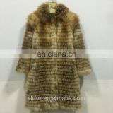 Factory wholesale winter warm long style knitted thick real red or silver fox fur coat for women