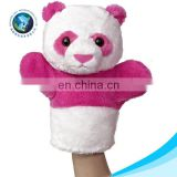 EN71/CE standard New baby toy Custom cute pretty stuffed soft plush pink and white panda toy cheap hand puppet