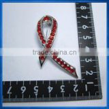 Silver Plated Red Rhinestones Breast Cancer Awareness Ribbon Brooch Pin