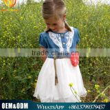 Prompt Shipment Best Quality Craft Baby Girl Cowgirl Denim Dress Kids Flower Girl Tulle Wedding Dress