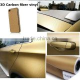 with bubble free or non-bubble free160mic film 3d carbon fiber chrome gold car wrap vinyl