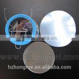 alibaba China 158mm mirror button badge parts with metal stander ,make by big press machine