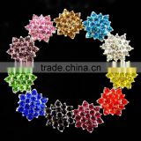 17MM Colorful Wholesales Cheap Silver Plated Alloy Snowflake Crystal Rhinestone Button For Baby Girl Jewelry Garment Accessory