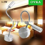 1w 110V 220V flexible snake led wall mounted lamp hotel bedside light black                                                                         Quality Choice
