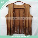 ladies fashion faux suede scarves shawls with long fringe