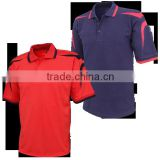 100% Cotton Custom Men Plain Red and Navy Blue Polo Shirts with contrast Panels and Collars stripes