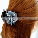 Grey Blue Satin Flower Hair Claw,Burned Flower Women Claw Clip