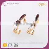 E73022I06 3 Gram Gold Red Rhinestone Beautiful Designed Gold Kundan Jhumka Mini Piece Earrings Animal Jewelry For Females