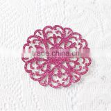 wholesale custom snowflake glitter laser cut iron on Dokoh Patches /gold glitter laser cut badge