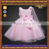 China Custom Made Fashion Butterfly Pink Sleeveless Flower Girl Wedding Dress